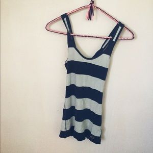 Hollister blue and white striped tank top